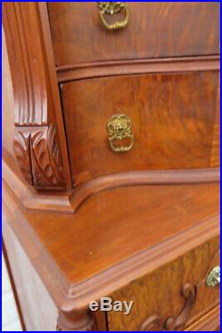 Early 1900s Tall Inlay Serpentine Chest of Drawers 9711