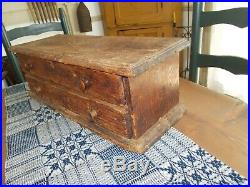 Early Tabletop Two Drawer Storage Chest / Apothecary / Spice Box / AAFA