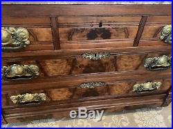 Eastlake Antique Burled Walnut Chest Of Drawers With Marble Top