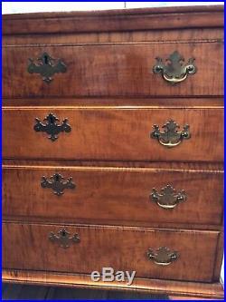 Eldred Wheeler Vintage Four Drawer Chippendale Chest, Tiger Maple