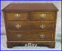 English Edwardian Style Inlaid Yew Wood Four Drawer Bachelors Chest
