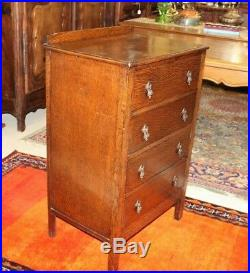 English Oak Arts & Crafts Small 4 Drawer Chest Bedroom Furniture