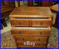 English Tiger Oak Arts & Crafts Small 5 Drawer Chest Bedroom Furniture