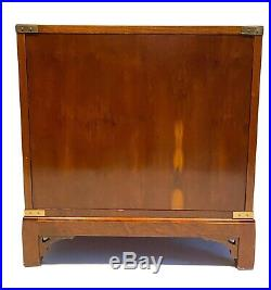 Ethan Allen Campaign Style Solid Cherry Nightstand Chest 4 Drawers RARE