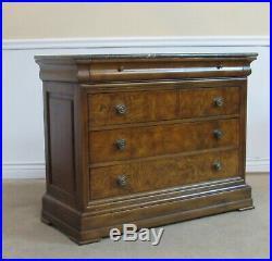 Ethan Allen Townhouse Burlwood Marble Top Dresser, 4 Drawer Low Chest, 30-5201