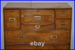 Exceptionally Rare Circa 1860 Walnut Military Officers Campaign Chest Of Drawers