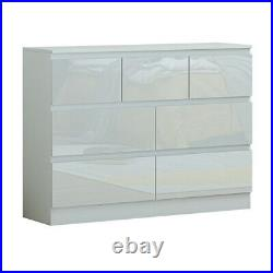 Extra Large White High Gloss 7 Drawer Merchant Chest. Modern Style. Matt Frame
