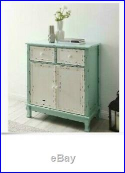 Farmhouse Storage Cabinet Accent Rustic Buffet Distressed Chest 2 Drawer Blue