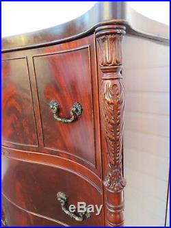 Flame Mahogany Serpentine Front Chest of Drawers By Union Furniture 8868