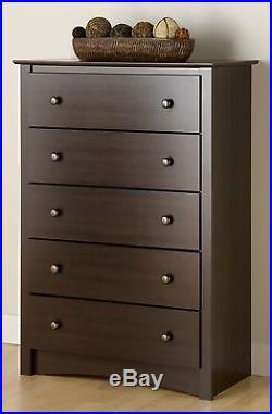 Fremont 5 Drawer Bedroom Dresser Chest Espresso NEW