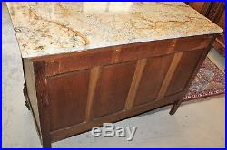 French Antique Carved Oak Wood Louis XV Marble Top Chest of Drawers / Sideboard