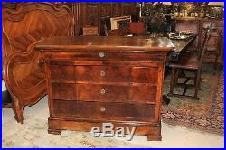French Antique Walnut Sideboard Cabinet / 3 Drawer Chest Dining Room Furniture