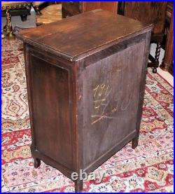 French Dark Oak Louis XV Antique Small 1 Door, 1 Drawer Cabinet Nightstand Chest