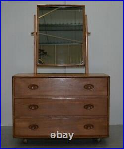 G Plan Ercol Windsor Elm Blond Wood Chest Of Drawers Dressing Table Inc Mirror