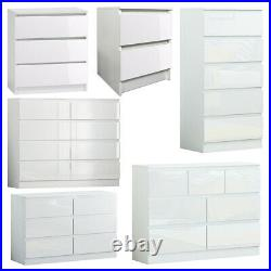 Glossy White 2/3/5/6/7/8 Modern Bedroom Chest of Drawers/ Bedside Cabinet