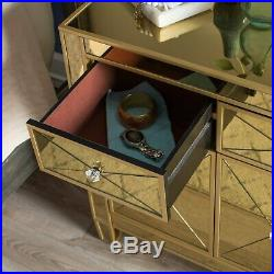 Gold Mirrored Glass Console Buffet Table Accent Cabinet Storage Drawer Chest NEW