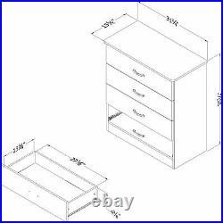 Gray Oak 4 Drawer Dresser Chest Drawers Storage Bedroom Furniture Wooden Classic