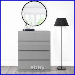 Grey Gloss 5 Drawer Tall Chest of Drawers Lyra