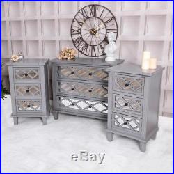 Grey Mirrored Furniture Set Chest Of Drawers and Bedside ...