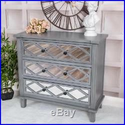 Grey Mirrored Furniture Set Chest Of Drawers and Bedside Tables Glass Bedroom