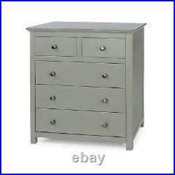 Grey Painted 2+3 Chest of Drawers Unit Solid Wood Storage Bedroom Furniture