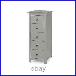 Grey Painted Narrow Tall Bedside Chest 5 Drawers & Glass Top Bedroom Storage