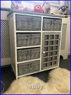 Grey White Chest Drawers Storage Cabinet Wicker Baskets Cupboard Vintage Bedroom