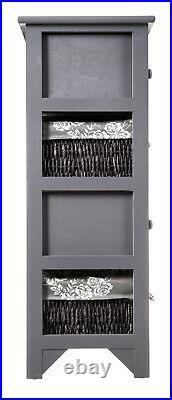 Grey Wooden Wicker Maize Cabinet Unit Shabby Retro Chest Drawer Storage Bedroom