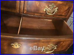 HENREDON Aston Court English Style Bowfront Tall Chest Drawers Scarce