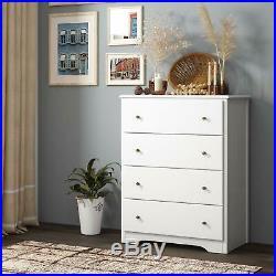 HOMECHO 4 Drawer Chest Bedroom Dresser Storage, White, Solid Wood Metal Handles
