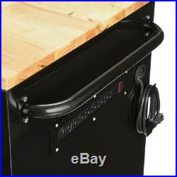 HUSKY Tool Chest Work Bench 62 In. 14 Drawer with Wood Top Black