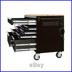 HUSKY Tool Chest Work Bench Solid Wood Top 52 In. X 24.5 9 Drawer Mobile Portable