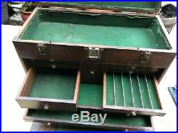 H. Gerstner & Sons 11 Drawers Vintage Machinist Tool Chest Wood Toolbox 1940s