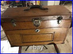 H. Gerstner & Sons Antique Oak Wood Machinist 7 Drawer Tool Chest Box