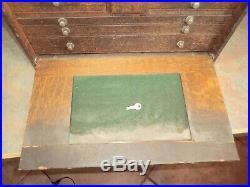 H Gerstner & Sons Wood Machinist Tool Box Chest 11 Drawers Original Vintage +KEY