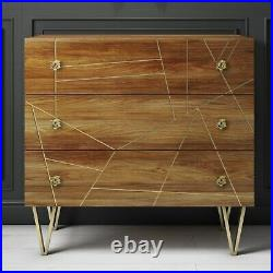 Halo 3 Drawer Chest of Drawers with Brass Inlay in Natural Honey