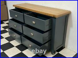 Hampshire blue painted oak topped 6 drawer chest of drawers sideboard Delivery