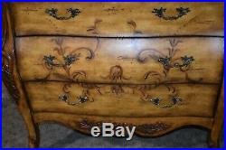 Hand Painted Three Drawer Florentine Style Bombe' Chest