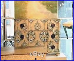 Hand-painted Jaipur French Moroccan Block Print Mahogany Chest of Drawers