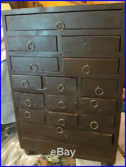 Handmade Primitive Wooden 16 Drawer Apothecary Chest