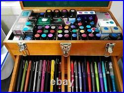 Hard Wood Tool Chest Box 8 Drawer Locking Wooden Cabinet Storage Crafts Jewels