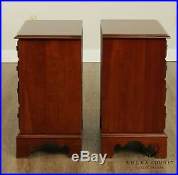 Harden Chippendale Style Pair 4 Drawer Chests Nightstands