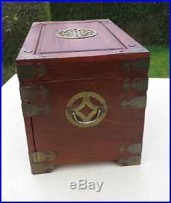 Hardwood & Brass Chinese Jewellery Chest / Box with Lock & 3 Drawers