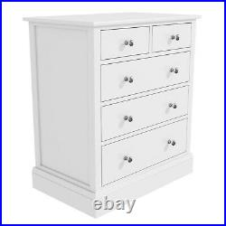 Harper White Chest of Drawers Solid Wood 2+3 Drawers