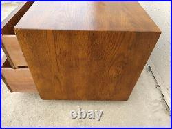 Henredon Artefacts Campaign 2 Drawer Chest Oak Wood Console Mid-Century Modern