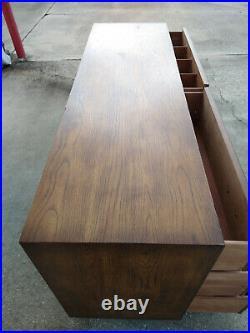 Henredon Artefacts Campaign 6 Drawer Oak Wood Dresser Chest Hollywood Regency