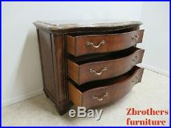 Henredon Oversized Burl Wood Regency Marble Top Chest of Drawers Dresser B