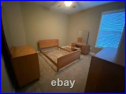Heywood Wakefield Bedroom Set Full Bed, Dresser, 4 Drawer Chest, Vanity, Stool