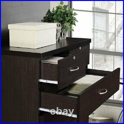 Hodedah 7 Drawer Chest with Locks on 2 Top Drawers in Chocolate