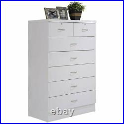 Hodedah 7 Drawer Chest with Locks on 2 Top Drawers in White